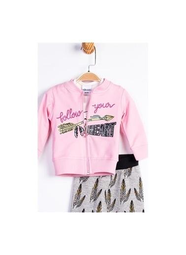 Panolino Bollow your heart 3'lü Alt Üst Takım Kız Bebek Giyim Ekru